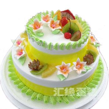 数码生日蛋糕-3层鲜奶蛋糕