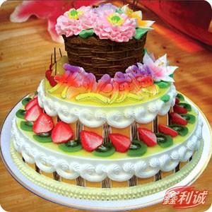 送蛋糕-3层鲜奶水果蛋糕