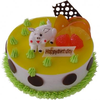 鲜花蛋糕-灿烂猪宝贝