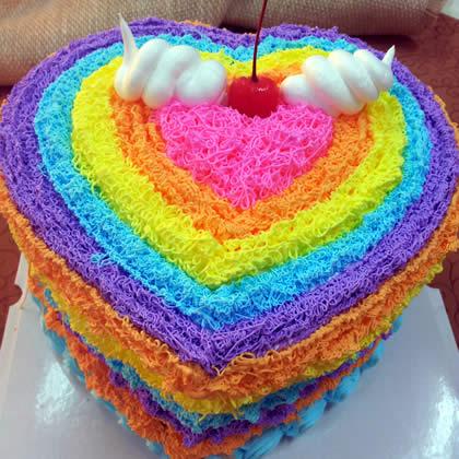 鲜花蛋糕-心形彩虹