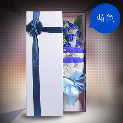网上花店-香皂花礼盒单蓝色
