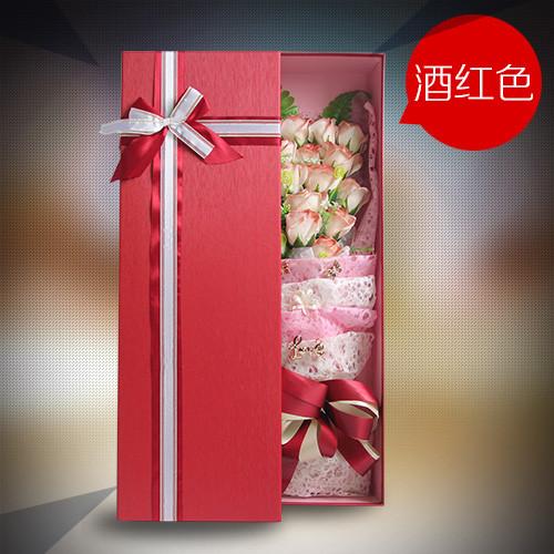 鲜花礼品-香皂花礼盒清新酒红色
