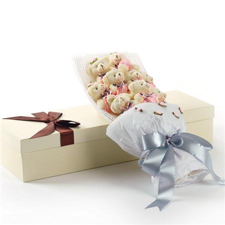 鲜花礼品-粉色小熊花束9支礼盒