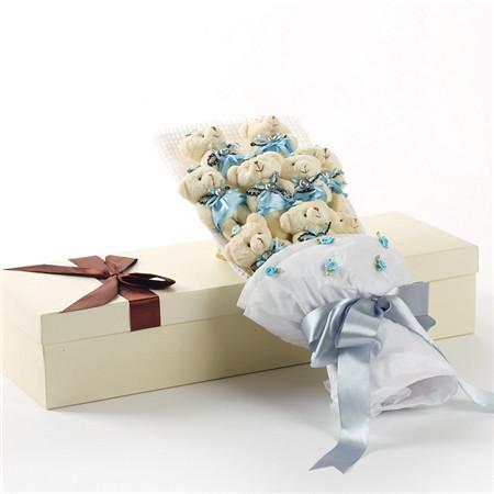 大学花店-蓝色小熊花束9支礼盒