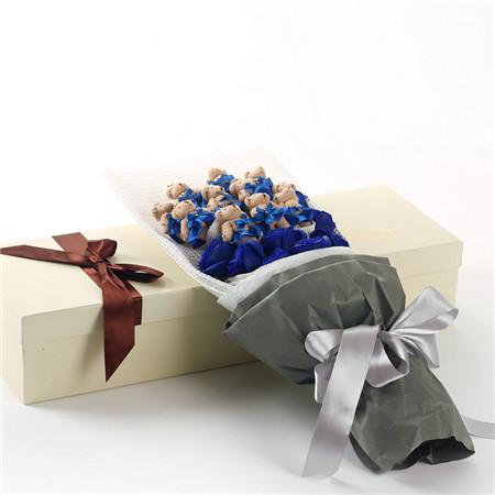 鲜花订购-蓝色小熊11支蓝香皂花7朵