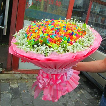 预订鲜花-彩虹玫瑰-美丽相约