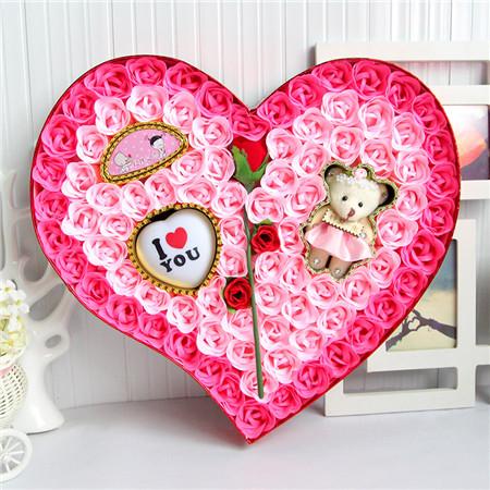鲜花礼品店-香皂花-92朵粉色一枝花小熊灯