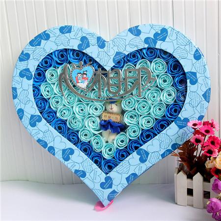 鲜花网-香皂花-92朵心心相印小熊
