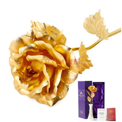 鲜花订购-金箔玫瑰陶瓷花瓶