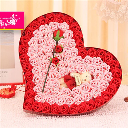 鲜花店-香皂花-92朵红色炫彩小熊