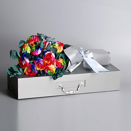 网络订花-七彩香皂花-11支装 半花束