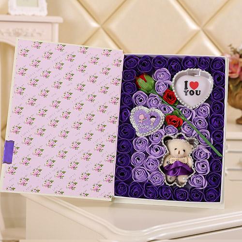 预订鲜花-香皂花一枝花+小熊 灯 紫色