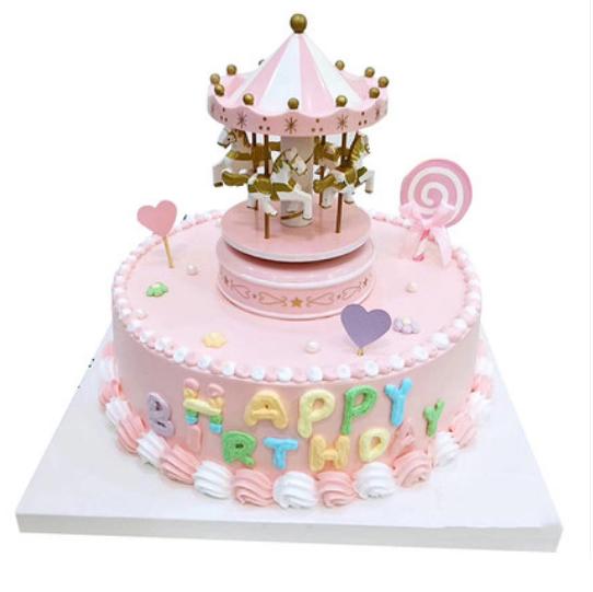 鲜花蛋糕-网红旋转木马A款