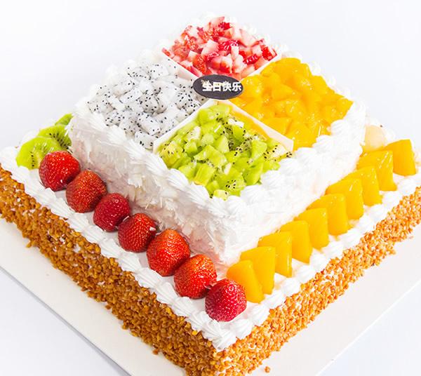 水果蛋糕-2层水果鲜奶蛋糕