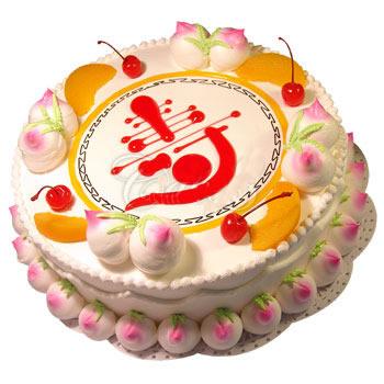 西安生日蛋糕:仙桃祝寿