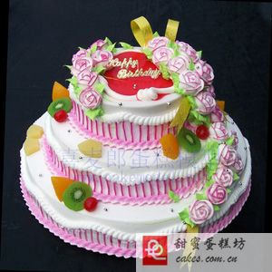 景德镇珠山区鲜花-3层鲜奶蛋糕