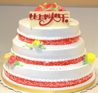 怀来鲜花-三层蛋糕