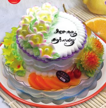 怀来鲜花-双层水果蛋糕