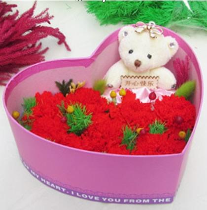 衡水鲜花预定:保鲜花 心盒九花