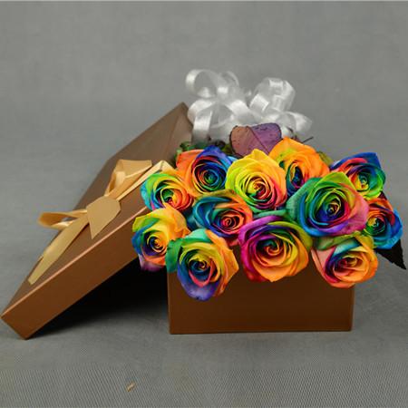 无锡永生花:彩虹玫瑰-多彩多姿