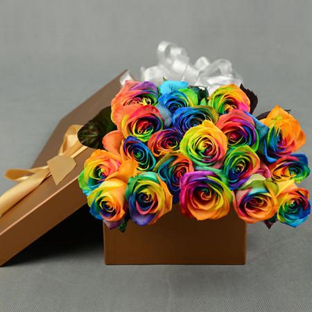 西安永生花:彩虹玫瑰-爱情的颜色