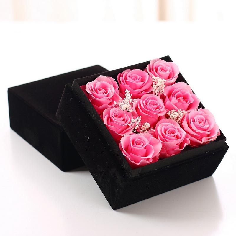 无锡永生花:保鲜花-九朵粉玫瑰