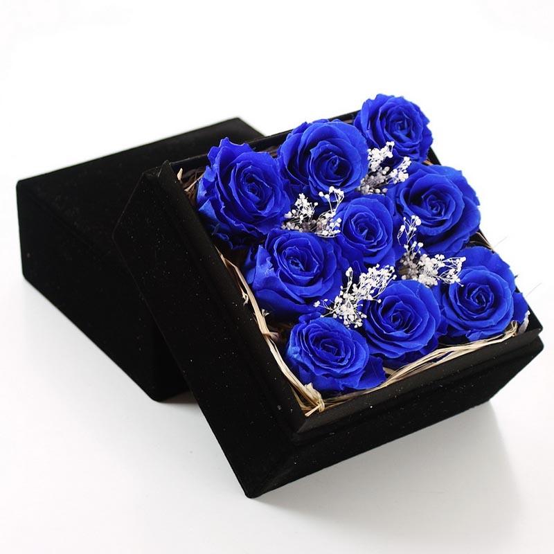 太原永生花:保鲜花-九朵蓝玫瑰