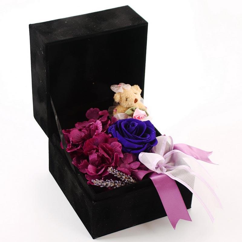 无锡永生花:保鲜花-玫瑰小熊D款
