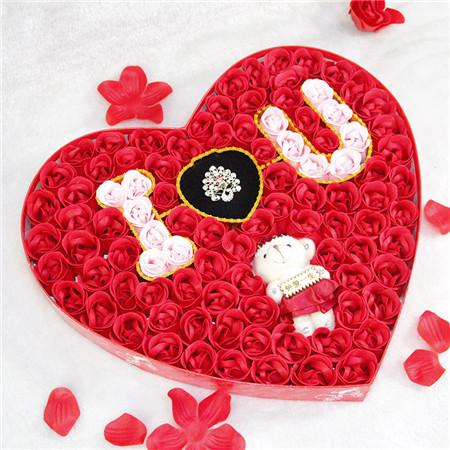 海阳肥皂花:100朵浪漫IU小熊戒指红色