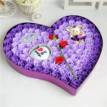 太原肥皂花:92朵紫色一枝花小熊灯