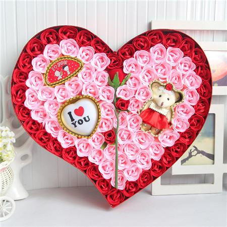 无锡肥皂花:92朵红色一枝花小熊灯
