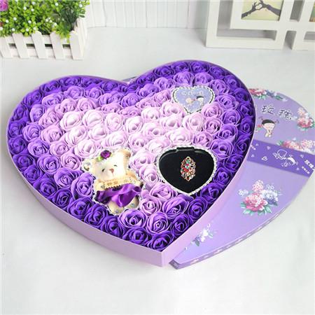 永康肥皂花:92朵紫色戒指小熊