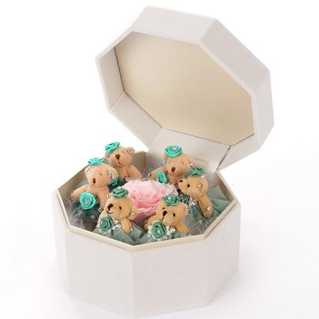 拉萨永生花:保鲜花 绿色小熊