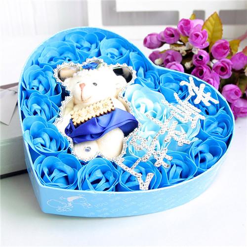 苏州肥皂花:18朵蓝色老师辛苦了+小熊
