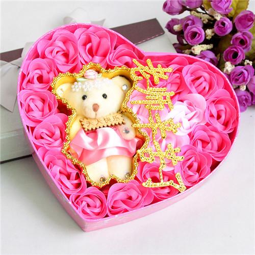 烟台肥皂花:18朵粉色老师辛苦了+小熊