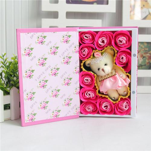 西安肥皂花:10朵书本桃李满天下+小熊粉色