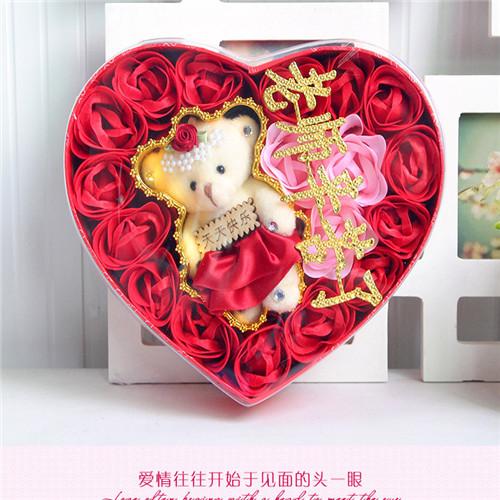 江门肥皂花:18朵红色老师辛苦了+小熊