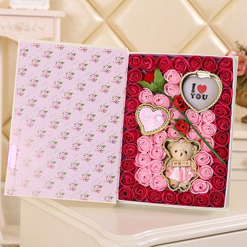 拉萨肥皂花:香皂花一枝花+小熊 灯 玫红色