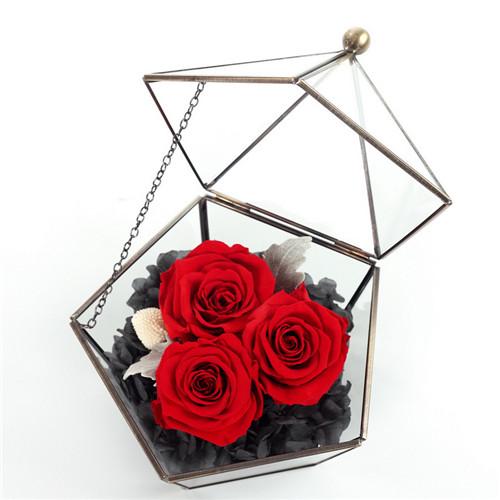 义乌鲜花:保鲜花五星玻璃花房红