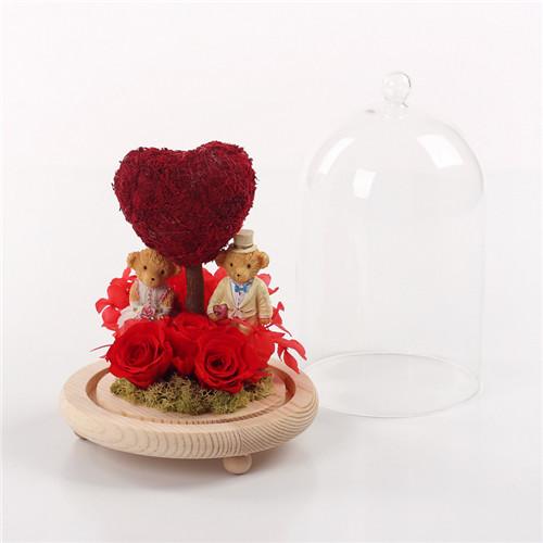 太原永生花:保鲜花玻璃罩心款红