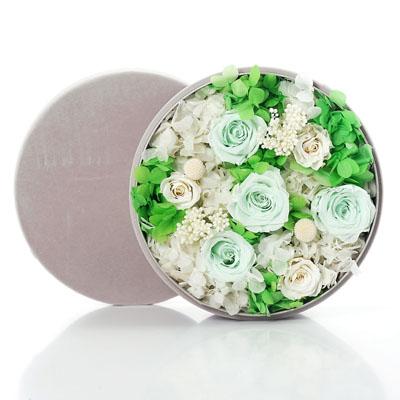 贵阳永生花:圆形绒布礼盒 绿色