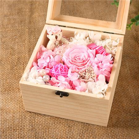 衡水鲜花礼品鲜花-保鲜花 粉色 1花+1熊