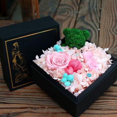 义乌鲜花预定:永生花 3朵粉玫瑰