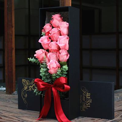 西安永生花:进口花-粉色的热恋11支