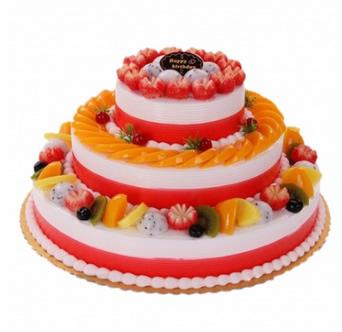 迭部鲜花-三层水果蛋糕
